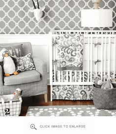 Gender neutral grey & white nursery bedding