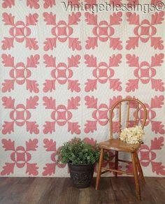 """Never Used! Vintage 30s Pink White Oak Leaf & Reel Applique QUILT 90x72"""""""