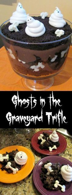 Ghosts in the Graveyard Trifle is spookily chocolate and eerily delicious! Hallowen Food , Ghosts in the Graveyard Trifle is spookily chocolate and eerily delicious! Ghosts in the Graveyard Trifle is spookily chocolate and eerily de. Dessert Halloween, Halloween Baking, Halloween Goodies, Halloween Food For Party, Halloween Cakes, Halloween Treats, Halloween Breakfast, Halloween Ghosts, Halloween Trifle Recipe