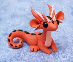 Orange and Peach Scrap Dragon by DragonsAndBeasties on Etsy
