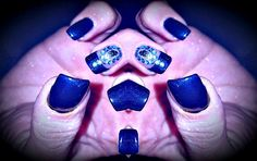 Gel Deep Blue & Jewel Nail Design