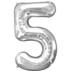 Silver Number 5 Balloon - 34inch Foil
