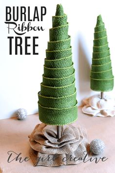 Ribbon Trees Adorable burlap ribbon trees made from a poster board cone, burlap wired ribbon and foam blocks from Flora Craft.Adorable burlap ribbon trees made from a poster board cone, burlap wired ribbon and foam blocks from Flora Craft. Burlap Christmas Crafts, Burlap Crafts, Noel Christmas, Modern Christmas, Rustic Christmas, Christmas Projects, Winter Christmas, Holiday Crafts, Homemade Christmas