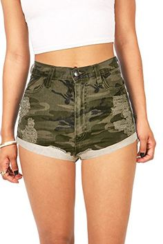 High waist denim shorts in a camouflage print with light distressing. Traditional front and back pocket construction with button and zip fly closure. Decent stretch in the denim. High Waisted Ripped Shorts, Distressed High Waisted Shorts, Ripped Jean Shorts, Waisted Denim, Camouflage Shorts, Camo Shorts, Pink Shorts, Short Outfits, Cool Outfits
