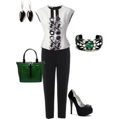 Elegant Outfit with Green Accents, created by penny-martin on Polyvore