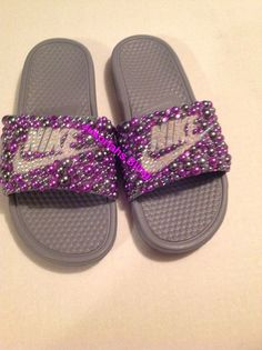 A personal favorite from my Etsy shop https://www.etsy.com/listing/450050258/bling-nike-slides-nike-shoes-accessories