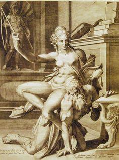 Jan Sadeler I - Aristotle & Phyllis (engraving c 1590) - Montreal Museum of Fine Arts