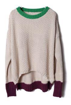 Beige Long Sleeve Contrast Trims Pullovers Sweater #SheInside