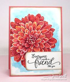 This is my Step It Up card for the March Creative Crew challenge (CCREW317SIP).   I stamped the Dahlia image (Flirty Flamingo) onto watercolor paper. I used a waterbrush and ink refills to add details to my flower and did a washy background using Tempting Turquoise