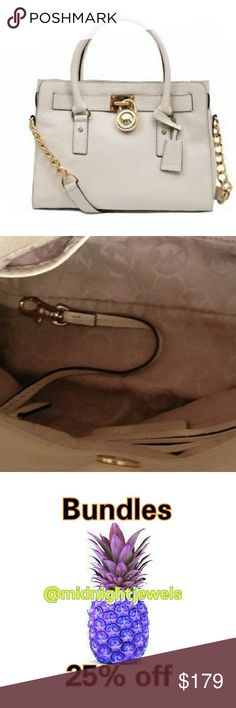 Michael Kors Women's Cream White Gold Hamilton Bag Michael Kors Women's cream with gold hardware Hamilton Bag. Great Pre-owned condition classy Bag!  Just a few questions you may have??  Authentic? Yes always no repop junk in this posh closet.  Hardware Color? Gold   Come with lock/Key? Yes   Stains inside? no way, gross I take good care of my handbags. Why by a $300.00 bag if your going to treat it horribly.   BUNDLE Discount?? Yes 25% off Michael Kors Bags Satchels