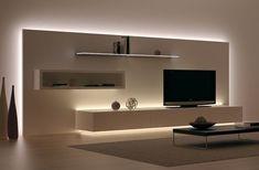 Luzes de LED usada atrás do móvel que cria um efeito ainda mais bonito.