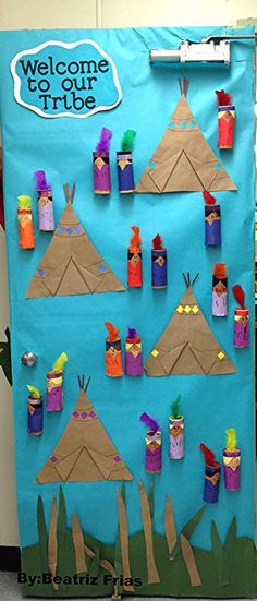 Cute Native American theme door welcome. Native American Crafts, American Indians, Art For Kids, Crafts For Kids, Arts And Crafts, Teacher Doors, Indian Theme, School Doors, Thanksgiving Preschool