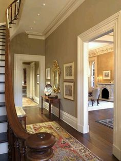 "New Homes A Interior Design Community Board How to Add ""Old House"" Character & Charm to Your Newer Home Step 5 - Beneath My Heart . Character Home, Foyer Decorating, Old House Decorating, Decorating Ideas, Decor Ideas, Living Room Paint, Historic Homes, Home Renovation, Old Houses"