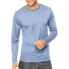 Hanes Sport Men's Long Sleeve CoolDri Performance Tee (50+ UPF), Size: Large, Blue
