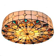 Cheerhuzz 18 Inch Baroque Retro Retro Tiffany Style Ceiling Light Stained Shell Peacock Big Ceiling Lamp Vintage Flush Mount Light Fixtures For Bedroom Diy Light Fixtures, Light Fittings, Tiffany Style Ceiling Lights, Tiffany Stained Glass, Modern Lighting Design, Flush Mount Lighting, Dining Room Lighting, Ceiling Lamp, Hanging Lights