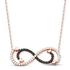 925 Sterling Silver Rose Plating Zircon Stone Double Infinity Necklace