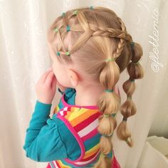 Emma's style today: elastics, criss-crossed three strand braids and bubble pigtails Girls Hairdos, Lil Girl Hairstyles, Princess Hairstyles, Girls Braids, Braided Hairstyles, Prom Hairstyles, Braided Updo, Natural Hair Styles, Long Hair Styles
