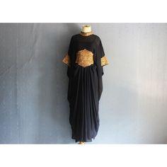 Elegant Black Short Sleeve Caftan Dress, Handmade Abaya Maxi Kaftan... ($44) ❤ liked on Polyvore featuring embroidered kaftan and maxi kaftan