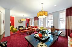2,300-square-floot Flatiron District loft (at 15 West 20th Street) with a major pop of color.