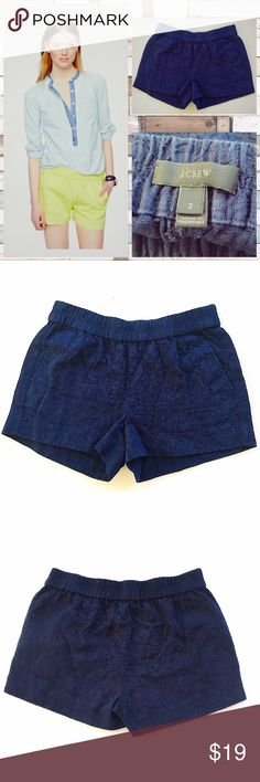 "Size 2 J.Crew Navy blue shorts pull on Matelassé 🔅Shorts from J. Crew ""Pull-on Matelassé"" 💢Navy Blue with floral texture, size 2, elastic waist 🔅3"" inseam, 14"" waist laid flat and measured across, and 11.5"" overall length from top  of waist straight down 💢Some pilling which you can see if you zoom in on photos  🔅Same shorts as on stock photo, though that is not the actual item. These shorts are navy blue and all of the other photos are actual photos J. Crew Shorts"