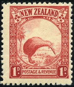 An engraved 1935 postage stamp issued by New Zealand depicting the native and iconic brown kiwi bird shown with a backdrop of a Te Kouka, or Cabbage, tree and carved Maori design. Rare Stamps, Old Stamps, Vintage Stamps, Vintage Postcards, Vanuatu, Postage Stamp Design, Kiwi Bird, Kiwiana, Stamp Collecting
