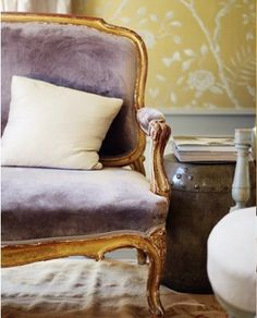 lilac velvet Louis chair