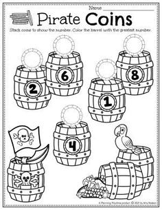 Count & Stack the Pirate's Coins in each barrel. - Preschool Pirate Worksheets