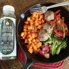 """""""Still addicted to these sweet potatoes by @primalpalate. Cook em up then before they go in the oven I toss in some leftover veggies and meat (sausage and liver meatballs) and cook until done.  This @lovesuja tastes kind of like eating grass but with my paleo taste buds I really enjoy it!  Maybe because I know how good the stuff in it is for me?! #paleolunch #onepanpaleo #fastpaleo"""" Photo taken by @paleohope"""