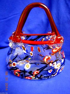 Hand Blown Art Glass Purse Handbag Murano (style?) Vase flowers handles red