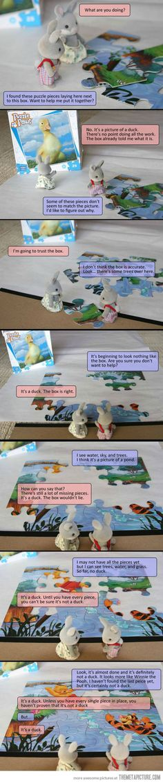 Science vs. Religion explained by stuffed rabbits