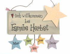 """Shabby Türschild Familie """"Sternchen"""" Pastellfarben"""