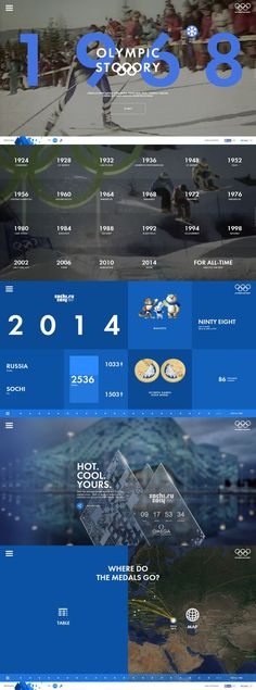 Olympic Story By ruformat from RUSSIA on - interior design Mobile Design, App Design, Design Art, Graphic Design, Grid Design, Blue Design, Interface Web, User Interface Design, Webdesign Inspiration