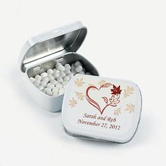 Personalized Fall Wedding Favor Mints.  Each tin is filled with peppermint-flavored mints and   personalized with the Bride & Grooms   Name and wedding date!  $2.10 ea.   BUY HERE    **Please included this information at checkout.