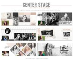 Great idea to offer a timeline cover with session - Center Stage Timeline Templates by Jamie Schultz Designs
