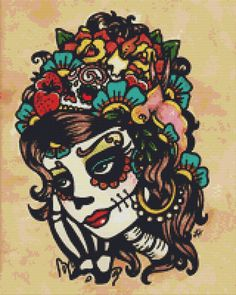 Sugar Skull Modern Cross Stitch Kit By Illustrated by GeckoRouge, $79.45