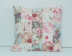 Patchwork Pillow Cover Shabby Chic Pillow Cover by stitchbyzura #shabbyroses #quiltedpillows