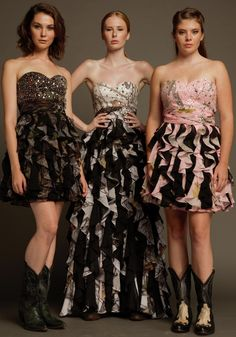 Carrafina Camo Prom and Special Occasion Dresses. LICENSED Mossy Oak and Real Tree Beaded Sweetheart Neckline with different size stones, ruched band at waist with short or long ruffled black/camo skirt!