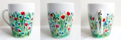 Field of flowers; hand-painted mug; 360ml / Kristi Palm Art
