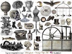 StEaMpUnK ViNtAgE cLiP aRt Digital Collage Sheet no by Itkupilli