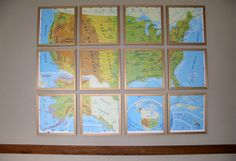 framed sectioned vintage united states map cool idea via krrb