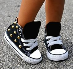 Kids Chucks Taylors classic high tops w spikes by LuxeLifeCouture Cute Baby Shoes, Baby Girl Shoes, Girls Shoes, Kid Shoes, Toddler Converse, Mein Style, Bling Shoes, Little Fashionista, Baby Kids Clothes