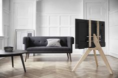 Vogels NEXT TV stand, lifestyle Check more at Tv Furniture, Furniture Layout, Furniture Design, Pied Support Tv, Tv Floor Stand, Modern Classic Interior, Modern Tv Units, Bohinj, Pallet Tv Stands
