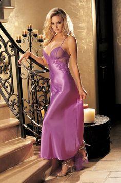 Résultat d'images pour lingerie gown long Sexy Lingerie, Lingerie Satin, Satin Nightie, Purple Lingerie, Jolie Lingerie, Pretty Lingerie, Beautiful Lingerie, Women Lingerie, Silk Chemise