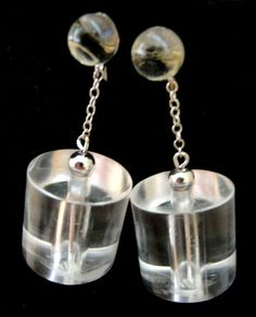 Clear Lucite Silver Dangle LAGUNA Earrings