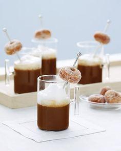 Cocoa or flavored coffee with cinnamon doughnut