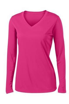 Ladies Long Sleeve PosiCharge Competitor V-Neck Tee 2XL+