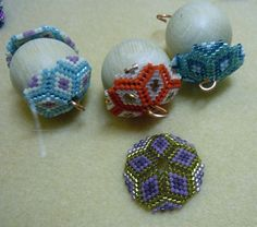 The beginnings of some colourful beaded beads - image copyright © Jean Power