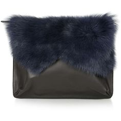 TopShop Premium Shearling Clutch (£50) ❤ liked on Polyvore featuring bags, handbags, clutches, topshop, navy blue, shearling handbag, navy blue purse, topshop purse and topshop handbags