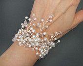 Bridal Bracelet,  Pearl Wedding Bracelet, Off White Ivory Pearls Rhinestone Silver Cuff Bracelet,Wide Bracelet, Bridesmaids Bride Jewelry