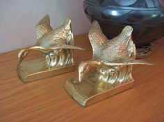 Pair Brass Bookends Searching Flying Mallards by CrystalCoaster